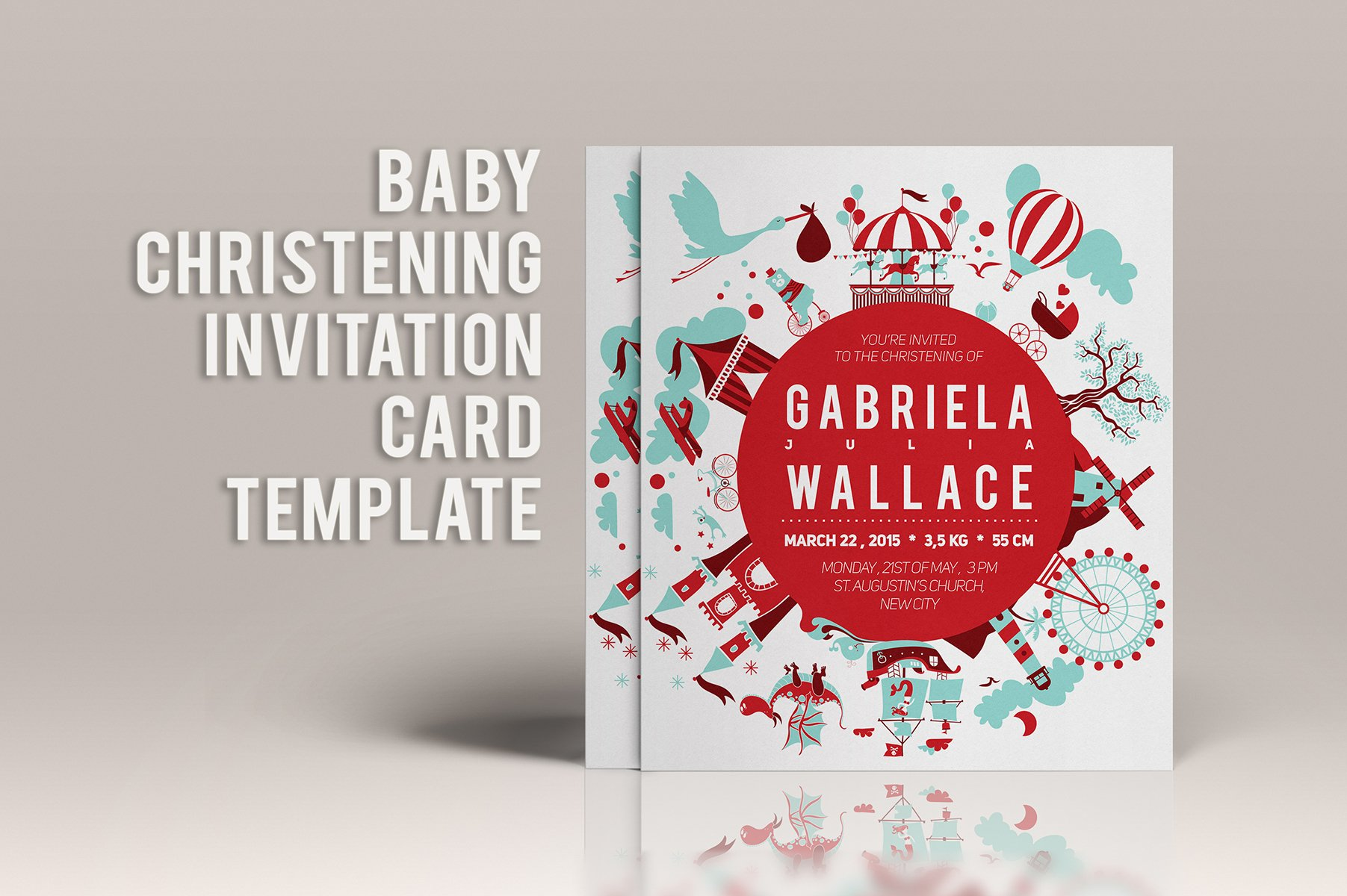 Baby christening invitation template invitation templates baby christening invitation template invitation templates creative market stopboris Gallery