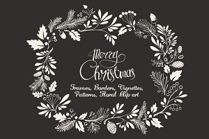 Christmas Hand-drawn Floral Decor
