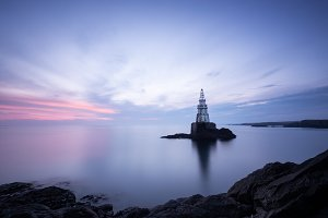 Achtopol`s lighthouse before sunrise