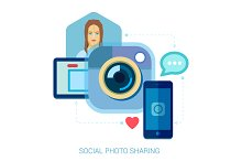 Social photo sharing and selfie