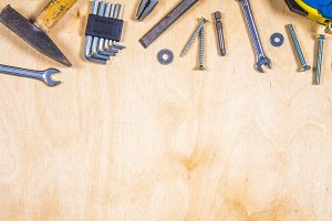 Joinery tools on plywood. Place for the text. A concept for Father's Day.