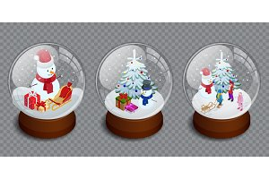 Isometric Set of Merry Christmas glass ball collection. Vector illustration. Realistic new year chrismas object isolated. Transparent vector object for design, mock-up.