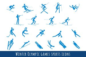 Winter Olympic Games Sport Icons Set