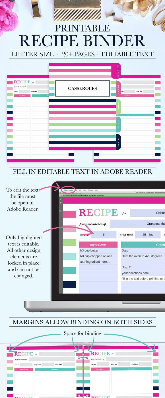 printable recipe binder kit stationery templates creative market