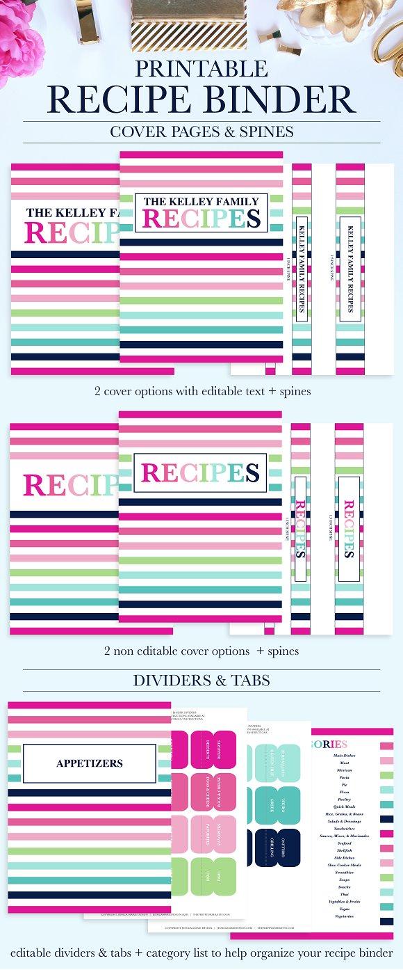 printable recipe binder kit stationery templates creative market