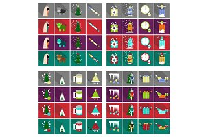 Flat Line Holiday Christmas Icons Set. Vector Set of 42 New Year Holiday Modern Line Icons for Web and Mobile. Winter Season Icons Collection