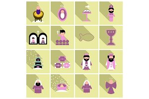 Merry Christmas set of flat icons . Birth of Christ illustration background concept.