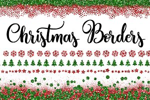 Christmas Glitter Border Overlays