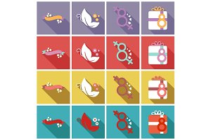 vector illustration set of badges labels on the topic 8 March International Women's Day
