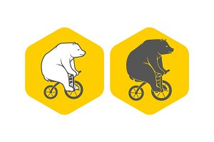 Bear on bicycle minimalistic vector illustration