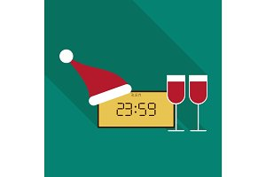 Clock With New Year 2018 with Santa`s hat and twoglasses of wine