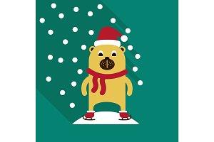 Christmas teddy bear with lollipop. Santa's hat. New Year's gift. Skying bear