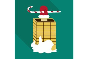 Santa Claus climbs down the chimney. Funny colorful cartoon vector illustration