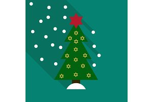 vector illustration of decorated Christmas tree with star