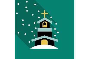 Church Icon Vector Isolated on snow backgraund