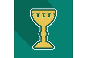 Golden church goblet color icon. Chalice. Holy water bowl. Isolated vector illustration