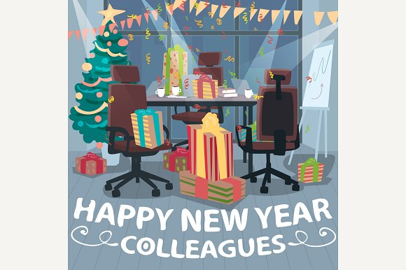happy new year for colleagues illustrations