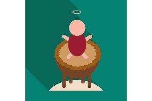 Child in cradle . boy baptism