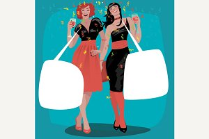 Girls raise glasses with bubbles