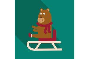 Christmas teddy bear with lollipop. New Year's gift. Skying bear