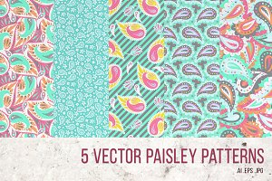 5 Paisley patterns vol.1