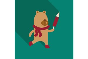 Christmas teddy bear with lollipop. New Year's gift. Skying bear with rocket