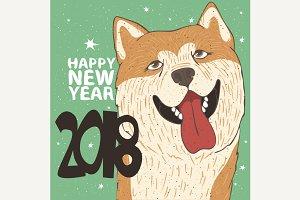 Funny dog breed Akita Inu