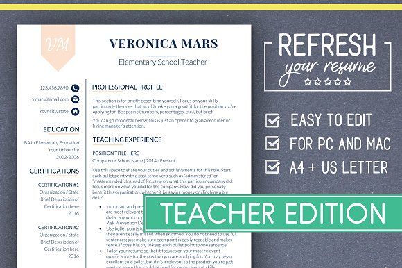 teacher resume template ms word resume templates creative market