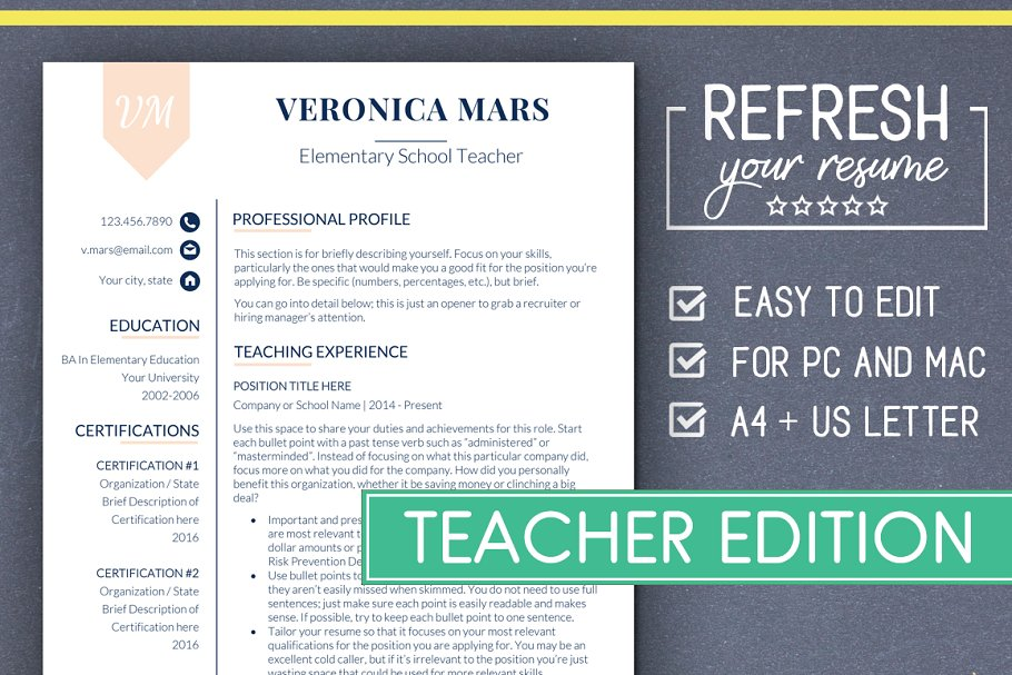 Teacher Resume Template Ms Word Resume Templates
