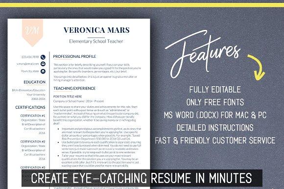 RESUME TEACHER Template For MS Word Educator Resume