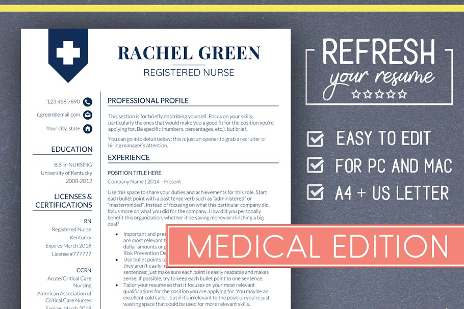Medical RESUME Template Nurse Resume Templates Creative