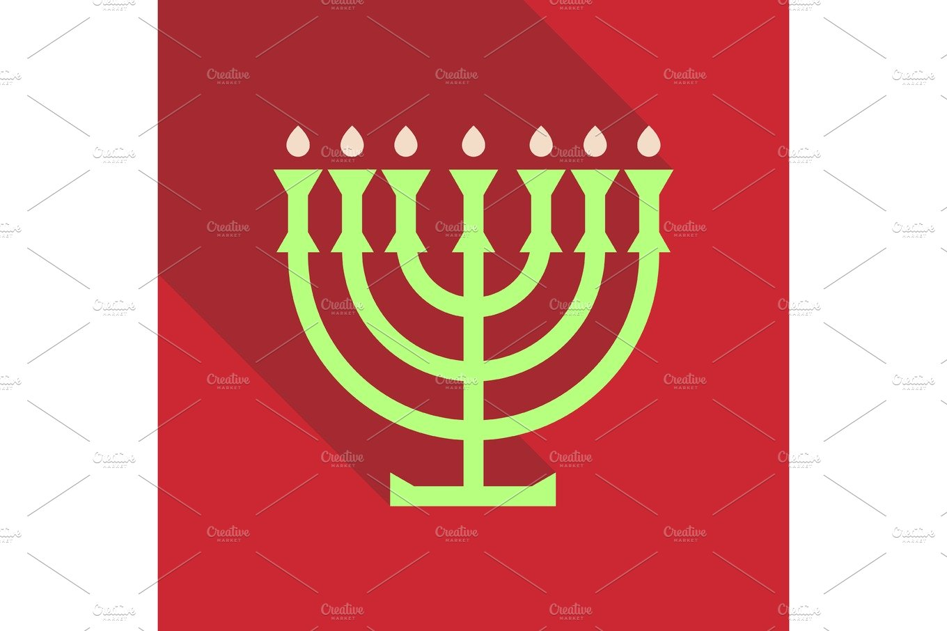 Menorah 9 Candle Candelabrum Vector Illustration Holiday Of