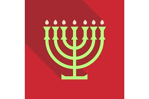 Menorah 9 candle candelabrum vector illustration. Holiday of Hanukkah element. Jewish symbol for celebration of Chanukah or Festival of Lights. Feast of Dedication lamp icon or festivity item.