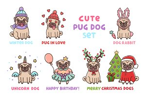 Cute Pug Dog Set