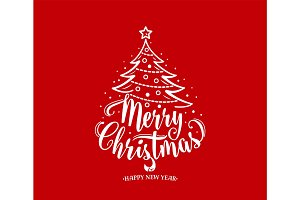 Merry christmas and happy new year text. Xmas tree with decoration, type.