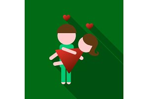 Man holds girl in his arms. Lovers. Valentine's Day,14 february. Cartoon style. Boy and girl. A declaration of love, romance,feelings, a pair of lovers
