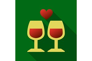 Two glasses of wine or champagne. Cheers icon. Vector illustration. heart
