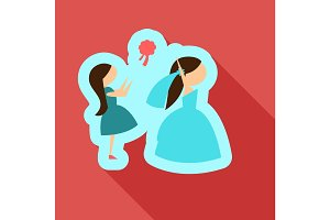Vector of a beautiful woman in a wedding dress. Beautiful woman in a wedding dress with Bridesmaid. Drop wedding bouquet