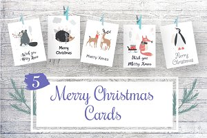 5 Merry Christmas Cards