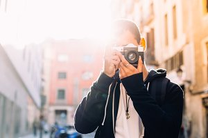Hipster traveler photographer