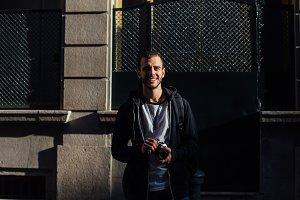 Hipster traveler photographer