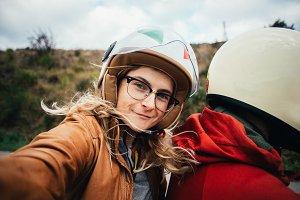Motorcycle passenger selfie