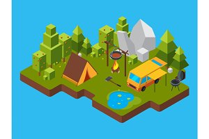 3d isometric landscape with camping in the forest. Outdoor fireplace