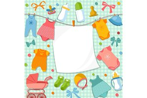 Cute frame for scrapbook new born baby. Funny pictures set for kids