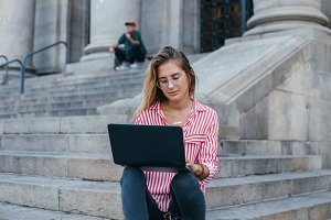 Student or businesswoman with laptop