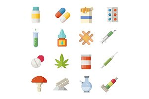 Pharmacy illustrations. Different drugs in cartoon style