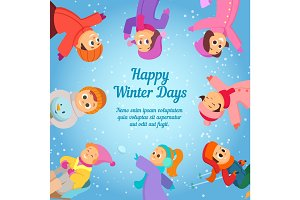 Winter background with happy school kids. Poster template with place for your text
