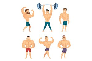 Cartoon characters of strong and muscular bodybuilders posing in different poses