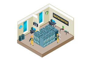 Isometric picture of interior of datacenter with specific equipment. Clouds systems and different symbols of network