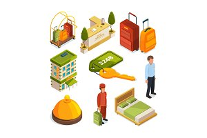 Icons set of hotel services. Isometric illustrations of reception tables
